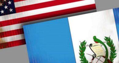Bandera de Guatemala y Estados Unidos