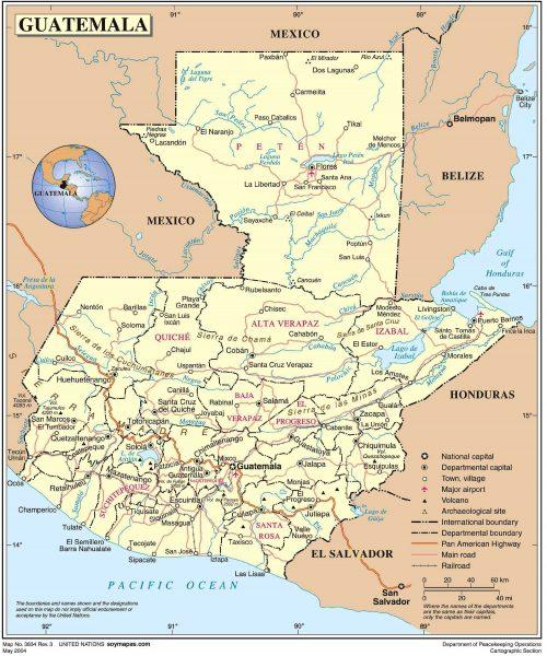 Mapa político de Guatemala