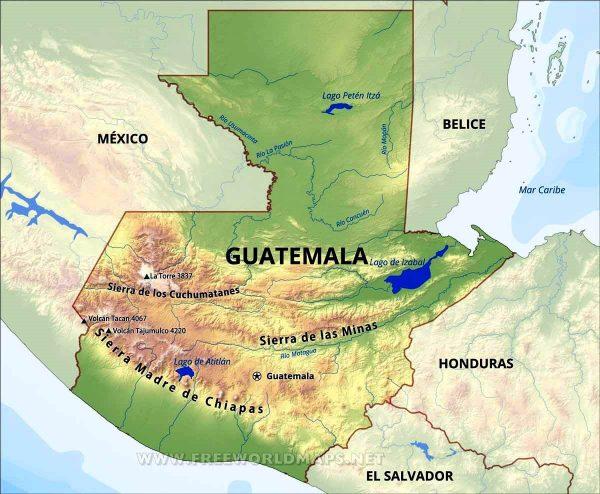 Mapa de sierras y montañas de Guatemala